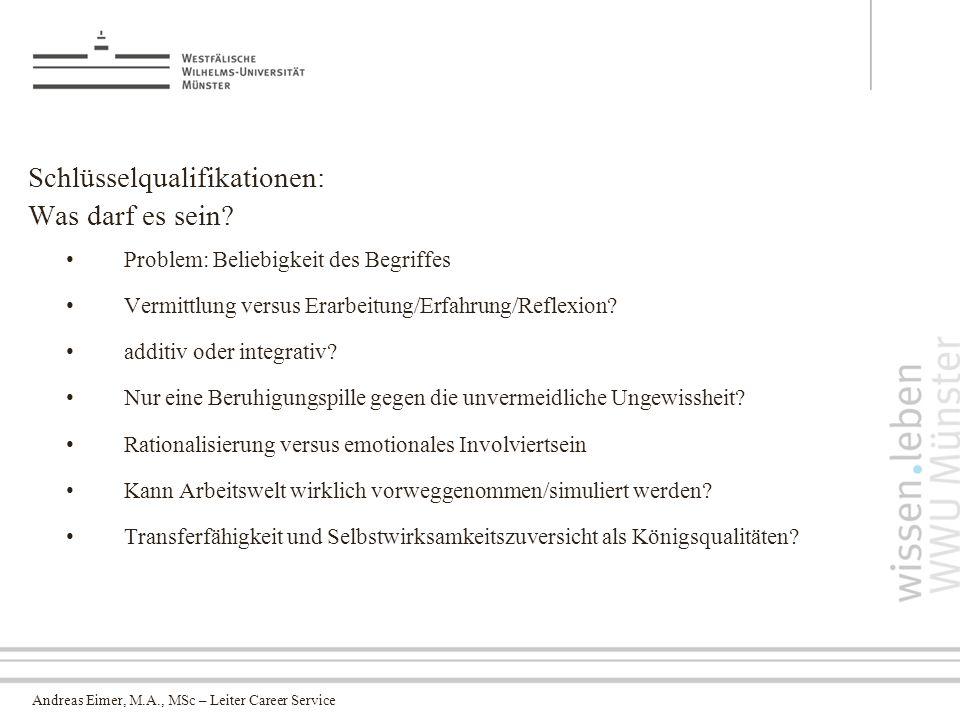 Andreas Eimer, M.A., MSc – Leiter Career Service Schlüsselqualifikationen: Was darf es sein.