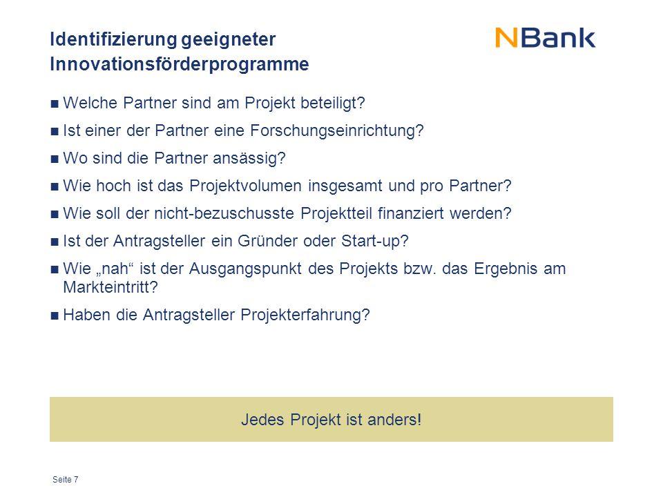 Seite 7 Identifizierung geeigneter Innovationsförderprogramme Welche Partner sind am Projekt beteiligt.