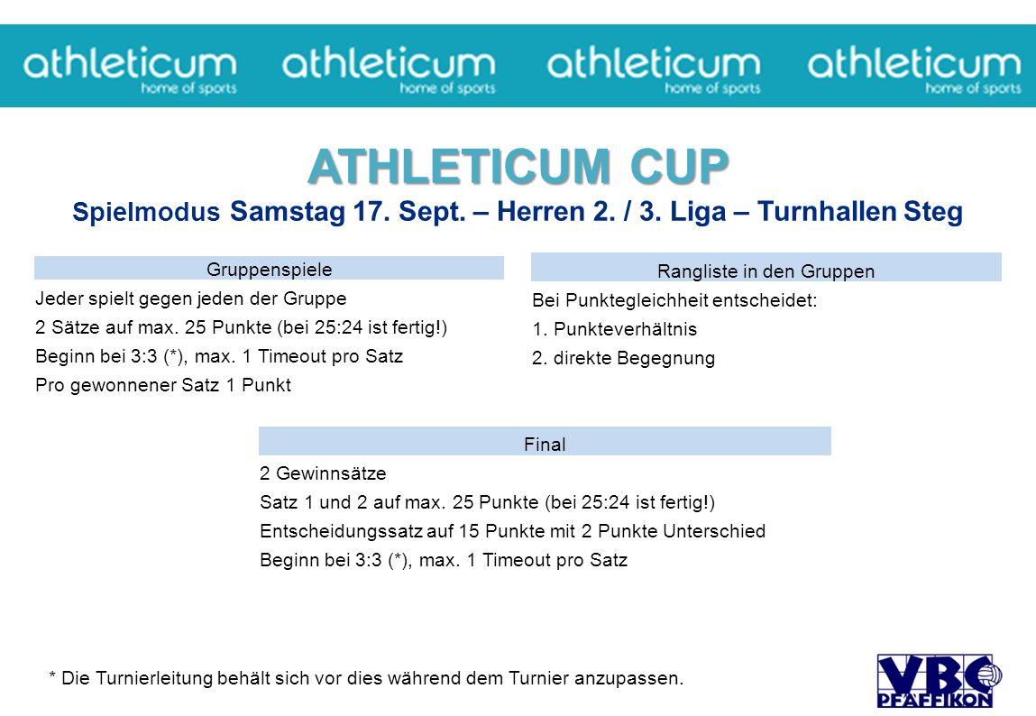 ATHLETICUM CUP ATHLETICUM CUP Spielmodus Samstag 17.
