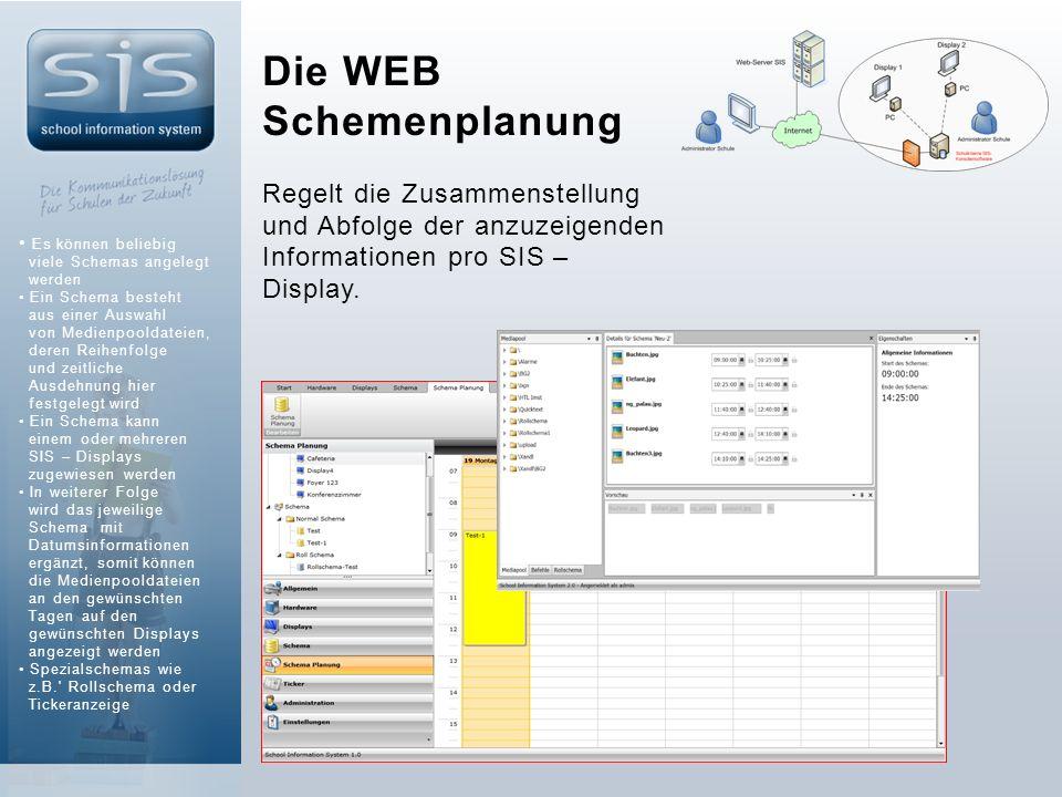 Die WEB Schemenplanung Regelt die Zusammenstellung und Abfolge der anzuzeigenden Informationen pro SIS – Display.
