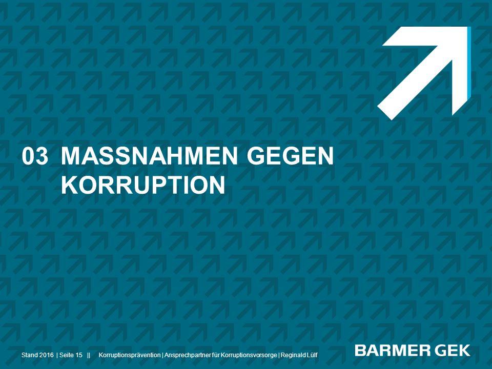 ||Stand 2016Korruptionsprävention | Ansprechpartner für Korruptionsvorsorge | Reginald Lülf| Seite 15 03MASSNAHMEN GEGEN KORRUPTION
