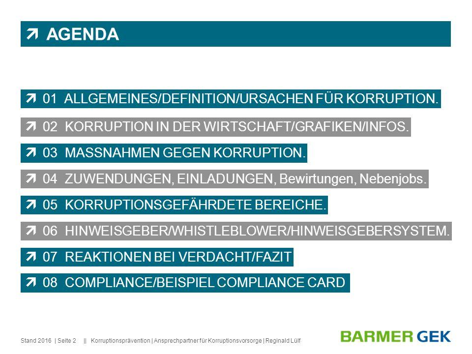 || Stand 2016Korruptionsprävention | Ansprechpartner für Korruptionsvorsorge | Reginald Lülf| Seite 2  AGENDA  01 ALLGEMEINES/DEFINITION/URSACHEN FÜR KORRUPTION.