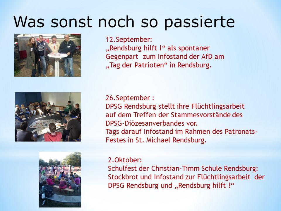 """Was sonst noch so passierte 12.September: """"Rendsburg hilft ! als spontaner Gegenpart zum Infostand der AfD am """"Tag der Patrioten in Rendsburg."""