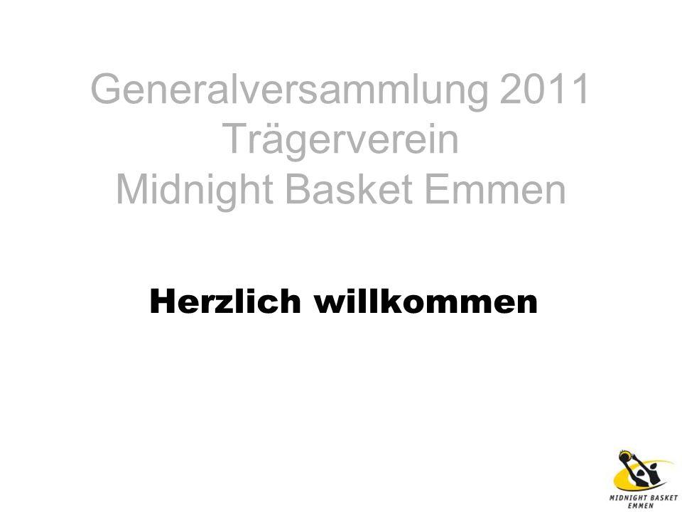Generalversammlung 2011 Trägerverein Midnight Basket Emmen Herzlich willkommen