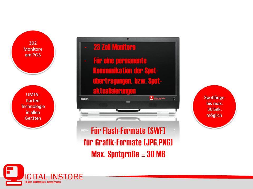 - 23 Zoll Monitore 302 Monitore am POS 302 UMTS- Karten Technologie in allen Geräten UMTS- Karten Technologie in allen Geräten Spotlänge bis max.