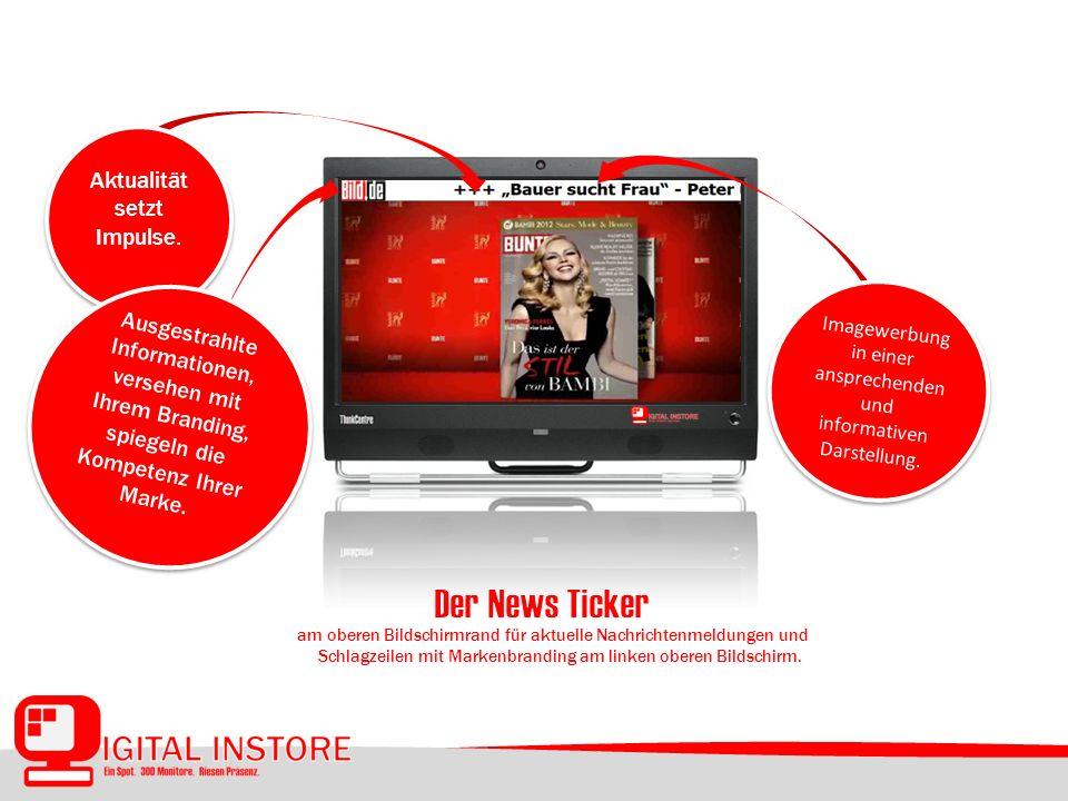 am oberen Bildschirmrand für aktuelle Nachrichtenmeldungen und Schlagzeilen mit Markenbranding am linken oberen Bildschirm.