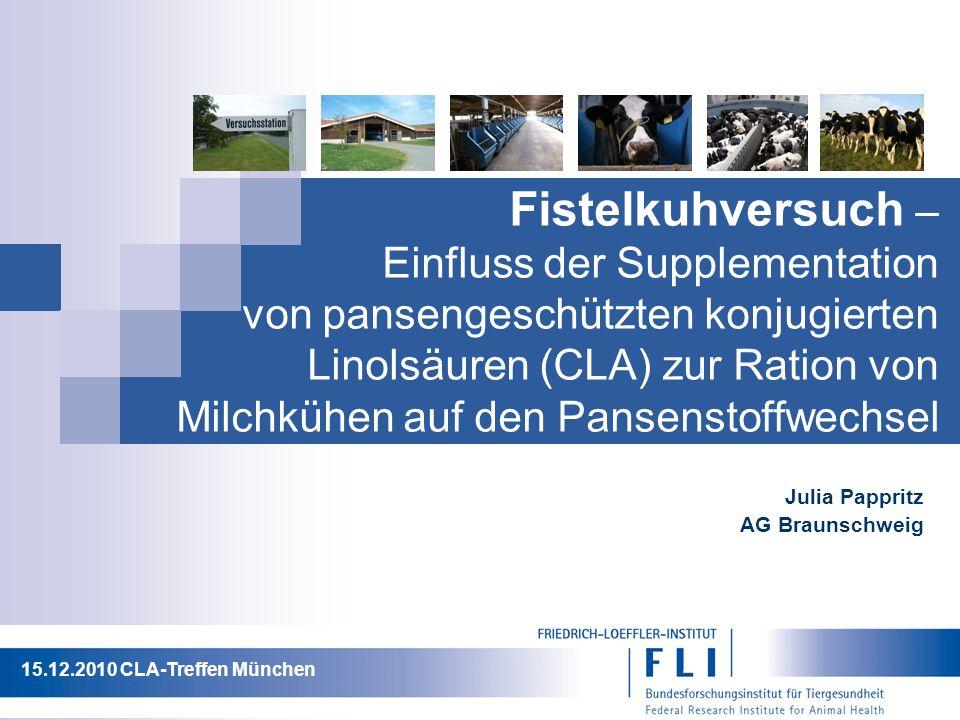 Fistelkuhversuch – Einfluss der Supplementation von pansengeschützten konjugierten Linolsäuren (CLA) zur Ration von Milchkühen auf den Pansenstoffwechsel Julia Pappritz AG Braunschweig 15.12.2010 CLA-Treffen München