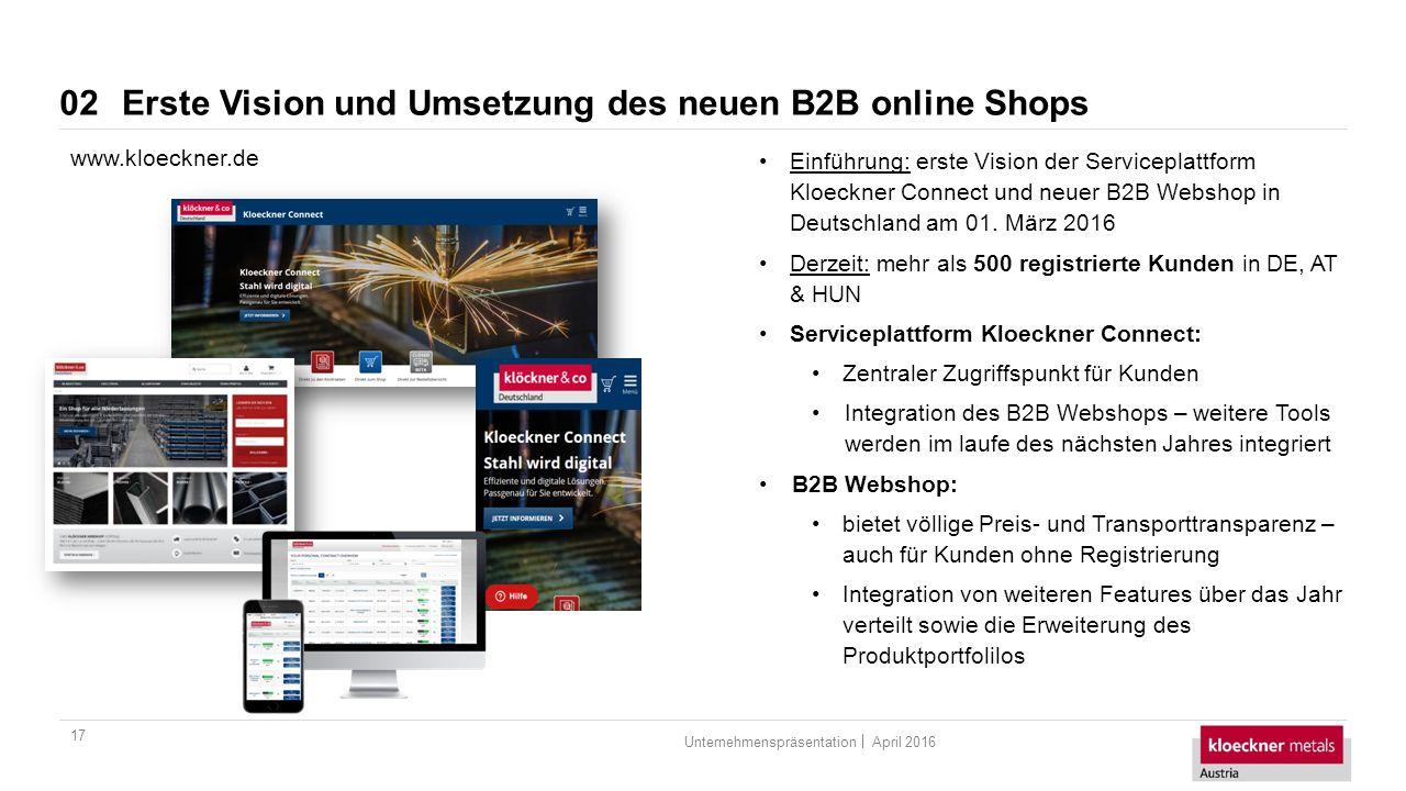 April 2016Unternehmenspräsentation Erste Vision und Umsetzung des neuen B2B online Shops 17 02 www.kloeckner.de Einführung: erste Vision der Serviceplattform Kloeckner Connect und neuer B2B Webshop in Deutschland am 01.