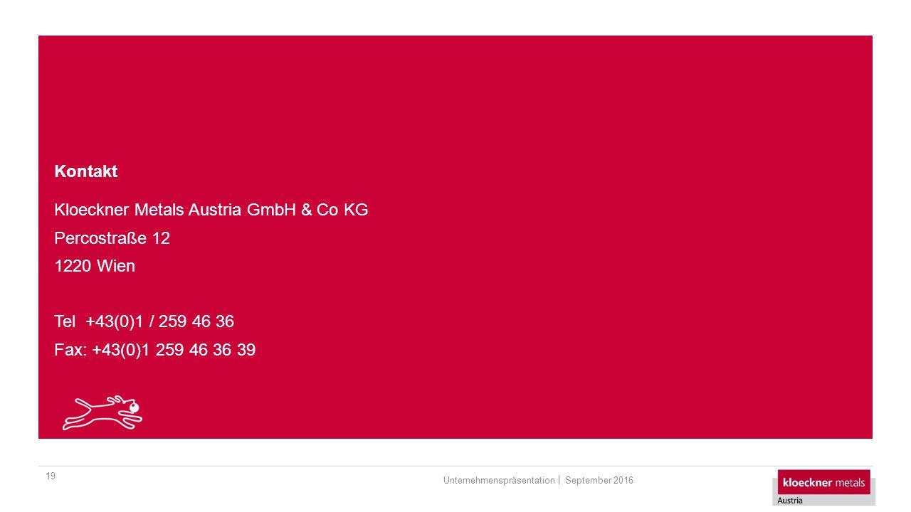 Kontakt 19 Kloeckner Metals Austria GmbH & Co KG Percostraße 12 1220 Wien Tel +43(0)1 / 259 46 36 Fax: +43(0)1 259 46 36 39 September 2016Unternehmenspräsentation
