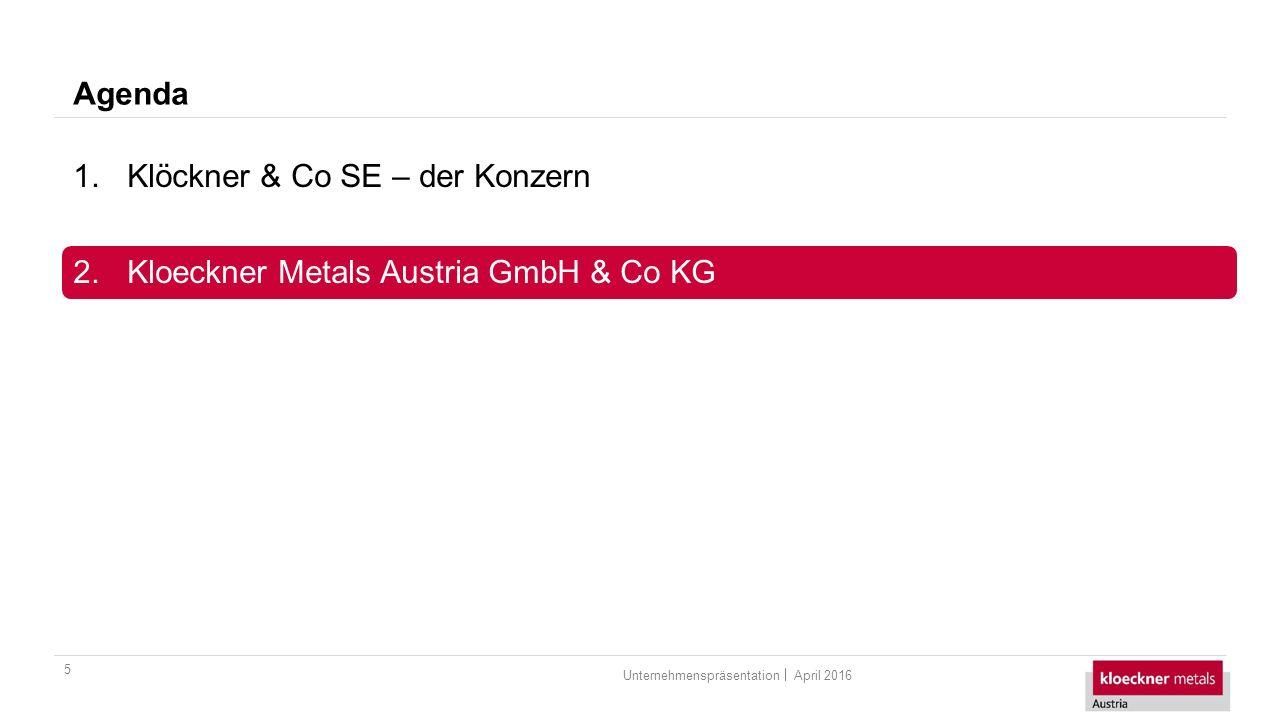 Agenda 5 1.Klöckner & Co SE – der Konzern 2.Kloeckner Metals Austria GmbH & Co KG April 2016Unternehmenspräsentation