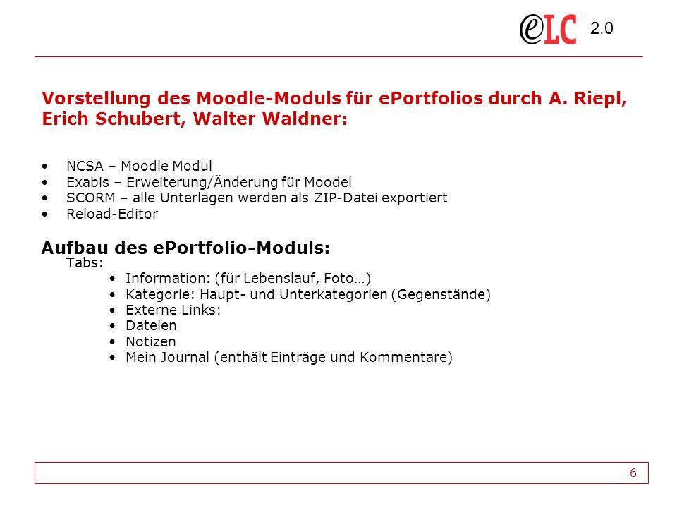 2.0 6 Vorstellung des Moodle-Moduls für ePortfolios durch A.