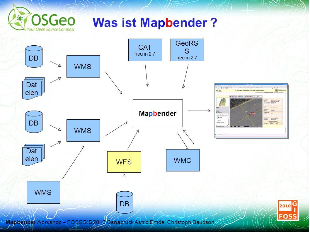 Mapbender Workshop – FOSSGIS 2010 Osnabrück Astrid Emde, Christoph Baudson Was ist Mapbender .