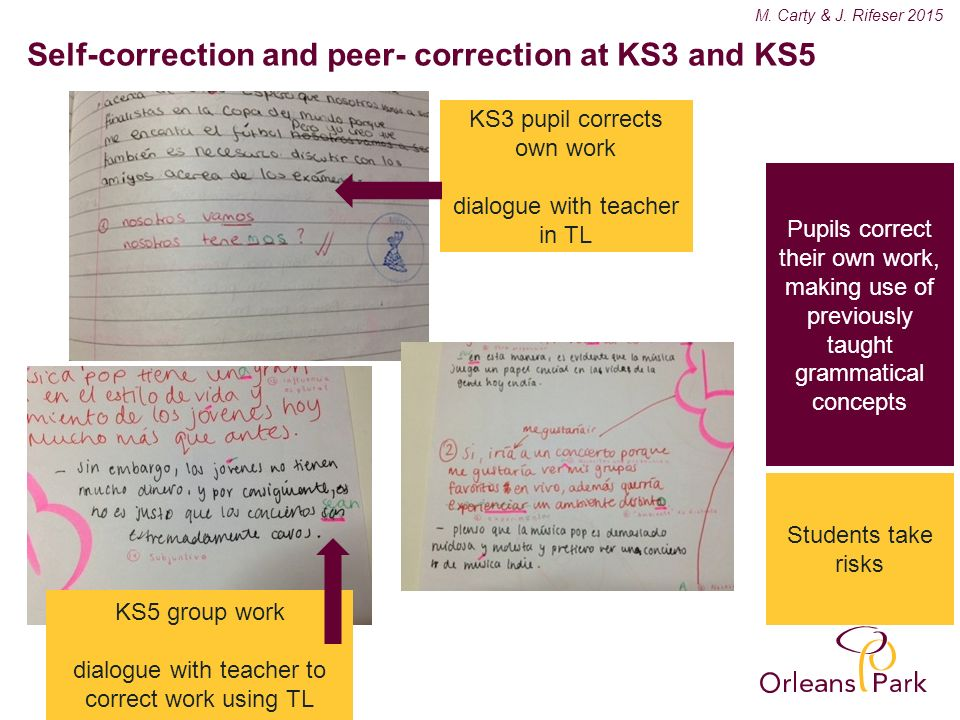 Be the best you can be Key grammatical rules are integrated as classroom routines in KS3 M.