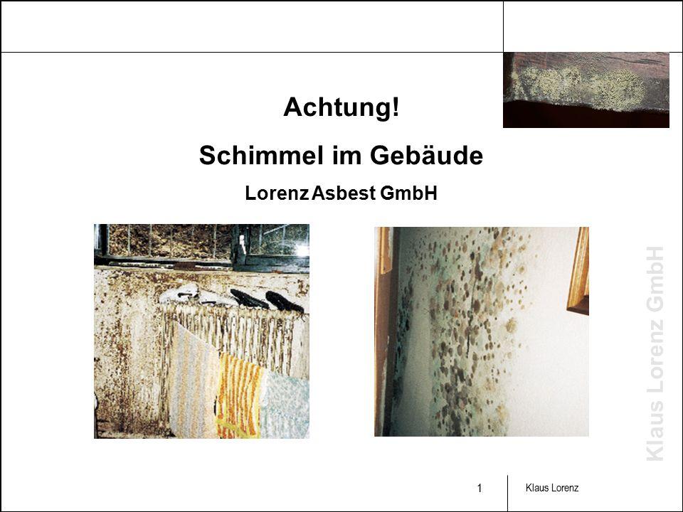 Klaus Lorenz GmbH 1 Klaus Lorenz Achtung! Schimmel im Gebäude Lorenz Asbest GmbH