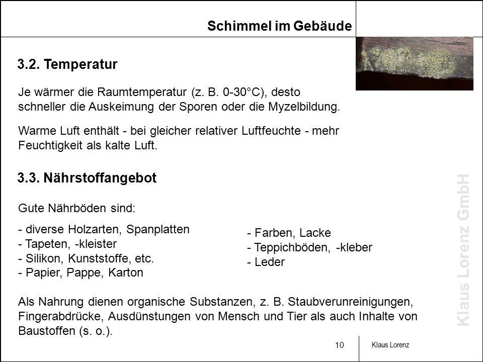 Klaus Lorenz GmbH 10 Klaus Lorenz 3.2. Temperatur Je wärmer die Raumtemperatur (z.