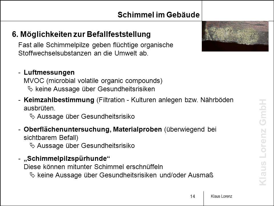 Klaus Lorenz GmbH 14 Klaus Lorenz Fast alle Schimmelpilze geben flüchtige organische Stoffwechselsubstanzen an die Umwelt ab.
