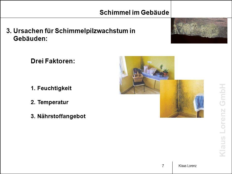 Klaus Lorenz GmbH 7 Klaus Lorenz 3. Ursachen für Schimmelpilzwachstum in Gebäuden: 1.