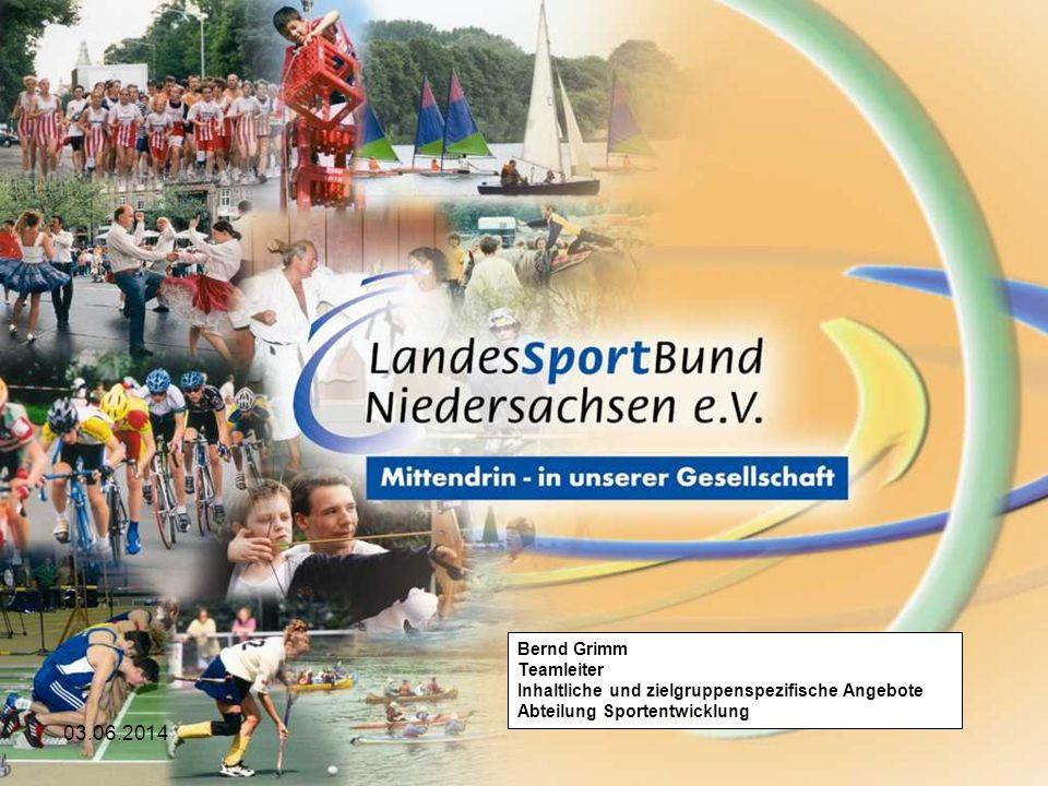 03.06.2014 Bernd Grimm Teamleiter Inhaltliche und zielgruppenspezifische Angebote Abteilung Sportentwicklung