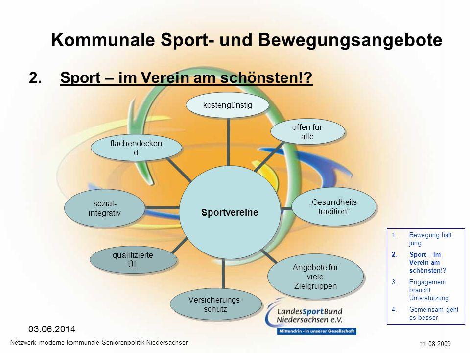 Kommunale Sport- und Bewegungsangebote 11.08.2009 Netzwerk moderne kommunale Seniorenpolitik Niedersachsen 03.06.2014 2.Sport – im Verein am schönsten!.