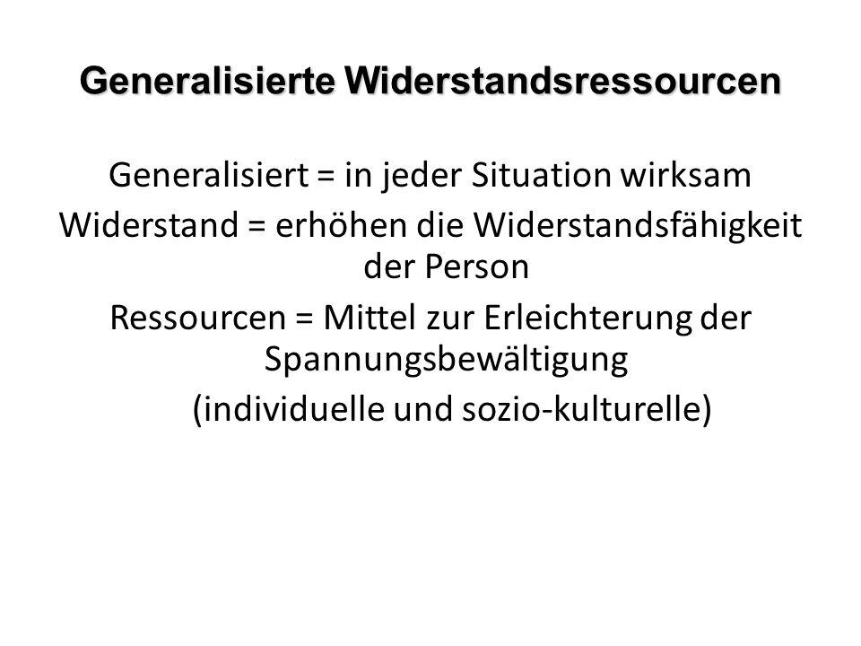 Generalisierte Widerstandsressourcen Generalisiert = in jeder Situation wirksam Widerstand = erhöhen die Widerstandsfähigkeit der Person Ressourcen = Mittel zur Erleichterung der Spannungsbewältigung (individuelle und sozio-kulturelle)