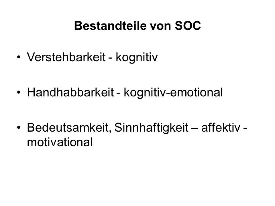 Bestandteile von SOC Verstehbarkeit - kognitiv Handhabbarkeit - kognitiv-emotional Bedeutsamkeit, Sinnhaftigkeit – affektiv - motivational