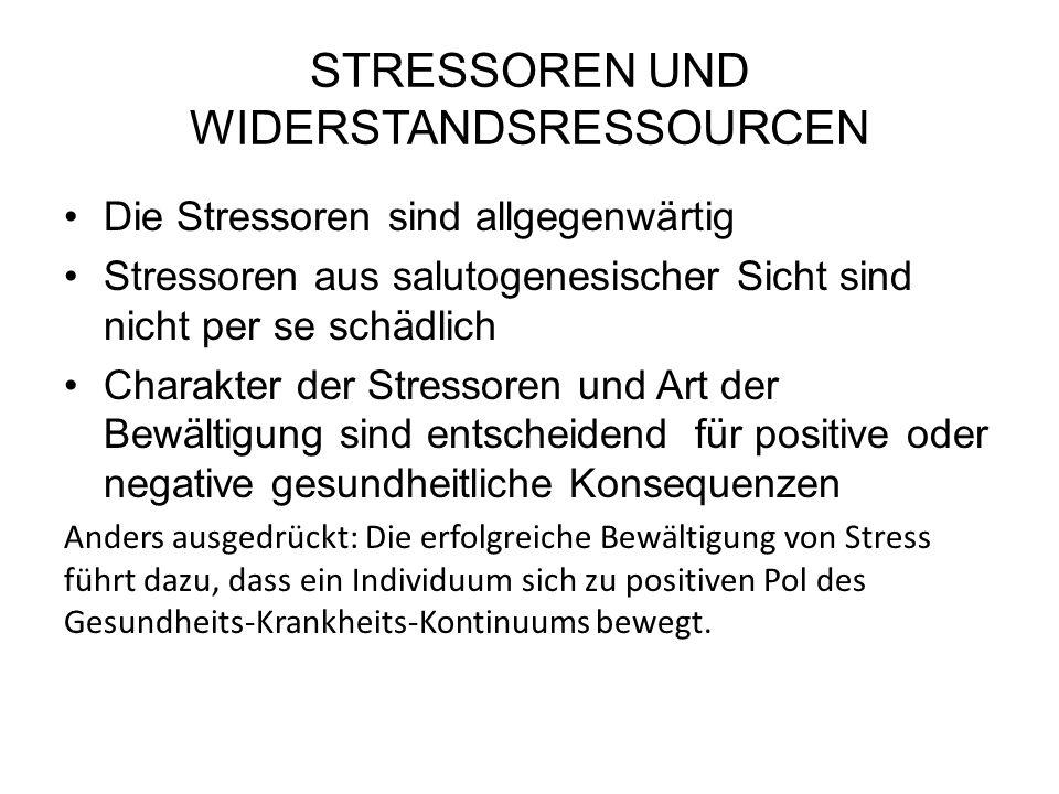 STRESSOREN UND WIDERSTANDSRESSOURCEN Die Stressoren sind allgegenwärtig Stressoren aus salutogenesischer Sicht sind nicht per se schädlich Charakter der Stressoren und Art der Bewältigung sind entscheidend für positive oder negative gesundheitliche Konsequenzen Anders ausgedrückt: Die erfolgreiche Bewältigung von Stress führt dazu, dass ein Individuum sich zu positiven Pol des Gesundheits-Krankheits-Kontinuums bewegt.