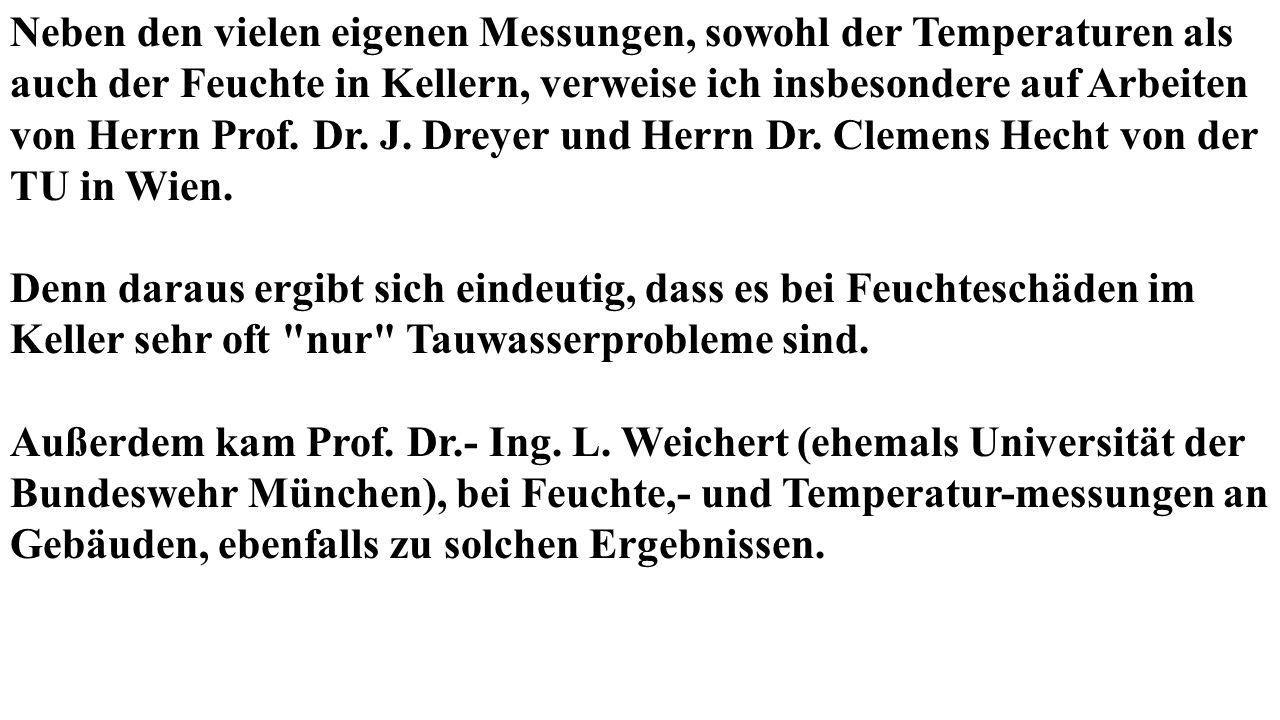 Neben den vielen eigenen Messungen, sowohl der Temperaturen als auch der Feuchte in Kellern, verweise ich insbesondere auf Arbeiten von Herrn Prof.