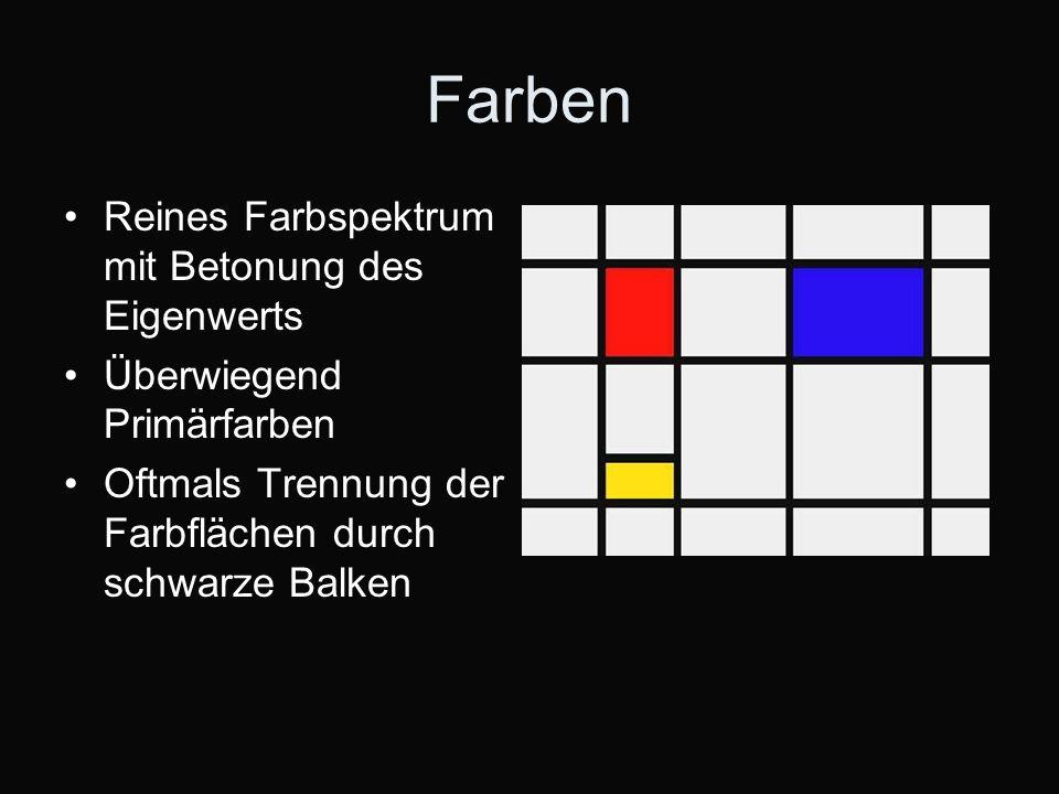 Farben Reines Farbspektrum mit Betonung des Eigenwerts Überwiegend Primärfarben Oftmals Trennung der Farbflächen durch schwarze Balken