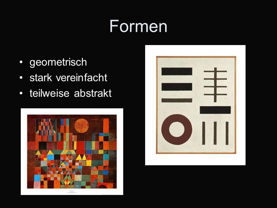 Formen geometrisch stark vereinfacht teilweise abstrakt