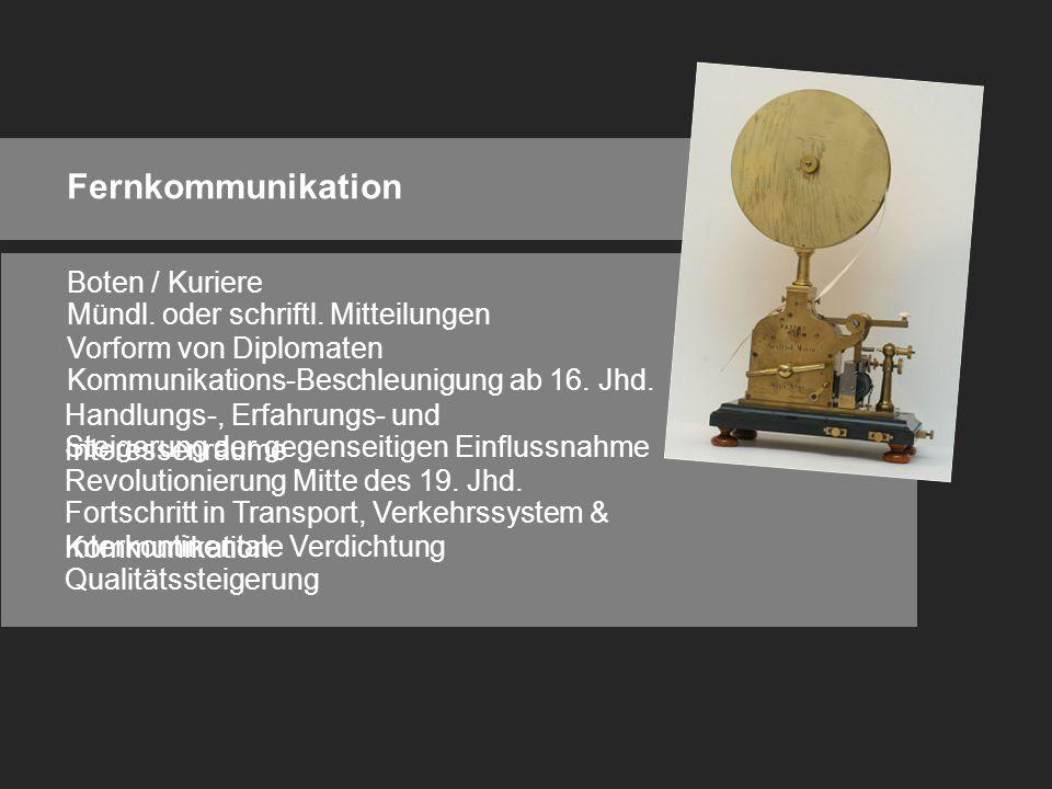 Fernkommunikation Boten / Kuriere Mündl. oder schriftl.