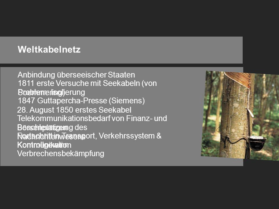 Weltkabelnetz Anbindung überseeischer Staaten 1811 erste Versuche mit Seekabeln (von Soemmering) Problem: Isolierung 1847 Guttapercha-Presse (Siemens) 28.