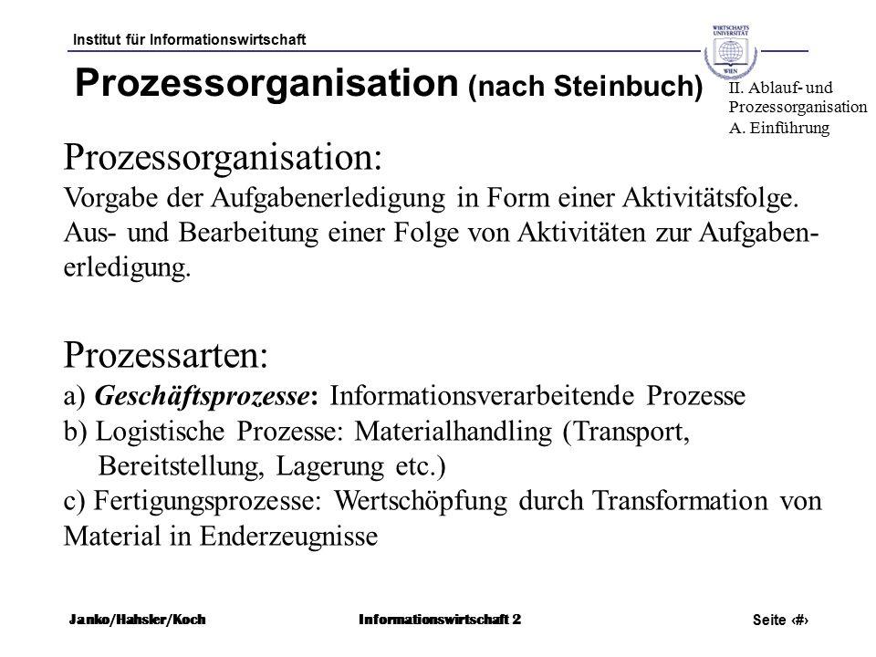 Institut für Informationswirtschaft Seite 11 Janko/Hahsler/KochInformationswirtschaft 2 Prozessorganisation (nach Steinbuch) Prozessorganisation: Vorgabe der Aufgabenerledigung in Form einer Aktivitätsfolge.