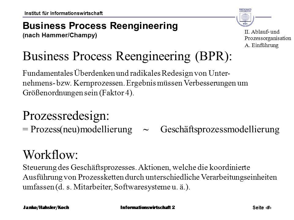 Institut für Informationswirtschaft Seite 12 Janko/Hahsler/KochInformationswirtschaft 2 Business Process Reengineering ( nach Hammer/Champy) Business Process Reengineering (BPR): Fundamentales Überdenken und radikales Redesign von Unter- nehmens- bzw.