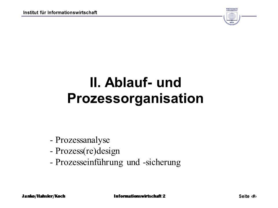 Institut für Informationswirtschaft Seite 2 Janko/Hahsler/KochInformationswirtschaft 2 II.