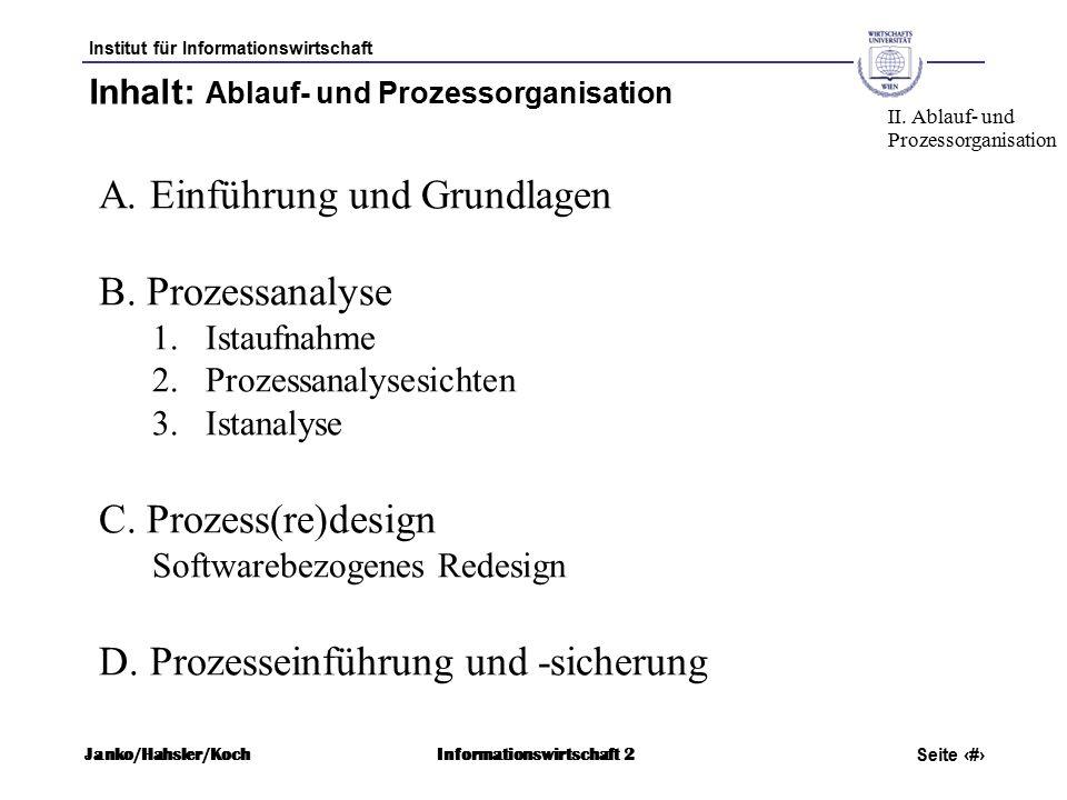 Institut für Informationswirtschaft Seite 4 Janko/Hahsler/KochInformationswirtschaft 2 Inhalt: Ablauf- und Prozessorganisation A.