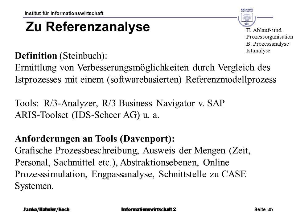 Institut für Informationswirtschaft Seite 40 Janko/Hahsler/KochInformationswirtschaft 2 Zu Referenzanalyse Definition (Steinbuch): Ermittlung von Verbesserungsmöglichkeiten durch Vergleich des Istprozesses mit einem (softwarebasierten) Referenzmodellprozess Tools: R/3-Analyzer, R/3 Business Navigator v.