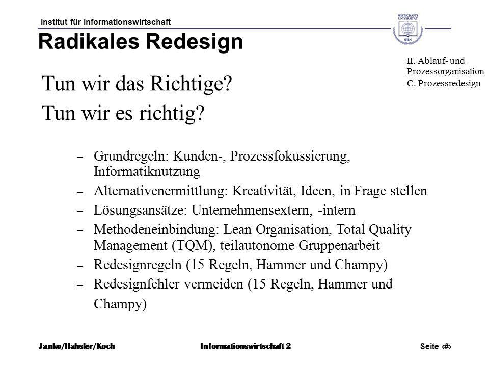Institut für Informationswirtschaft Seite 51 Janko/Hahsler/KochInformationswirtschaft 2 Radikales Redesign Tun wir das Richtige.