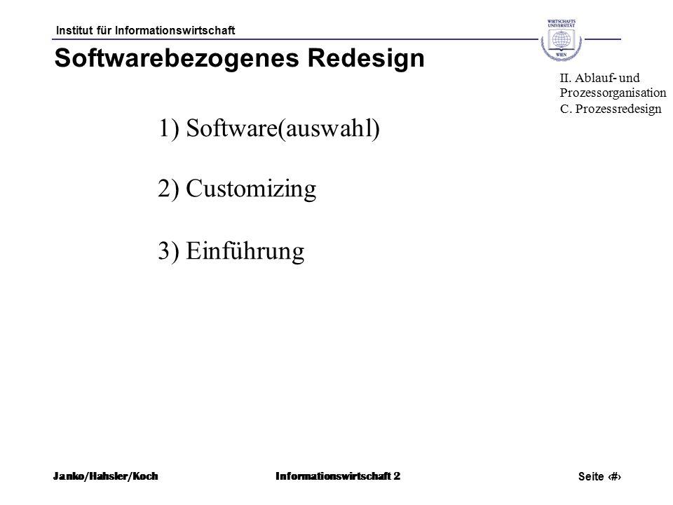 Institut für Informationswirtschaft Seite 52 Janko/Hahsler/KochInformationswirtschaft 2 Softwarebezogenes Redesign 1) Software(auswahl) 2) Customizing 3) Einführung II.
