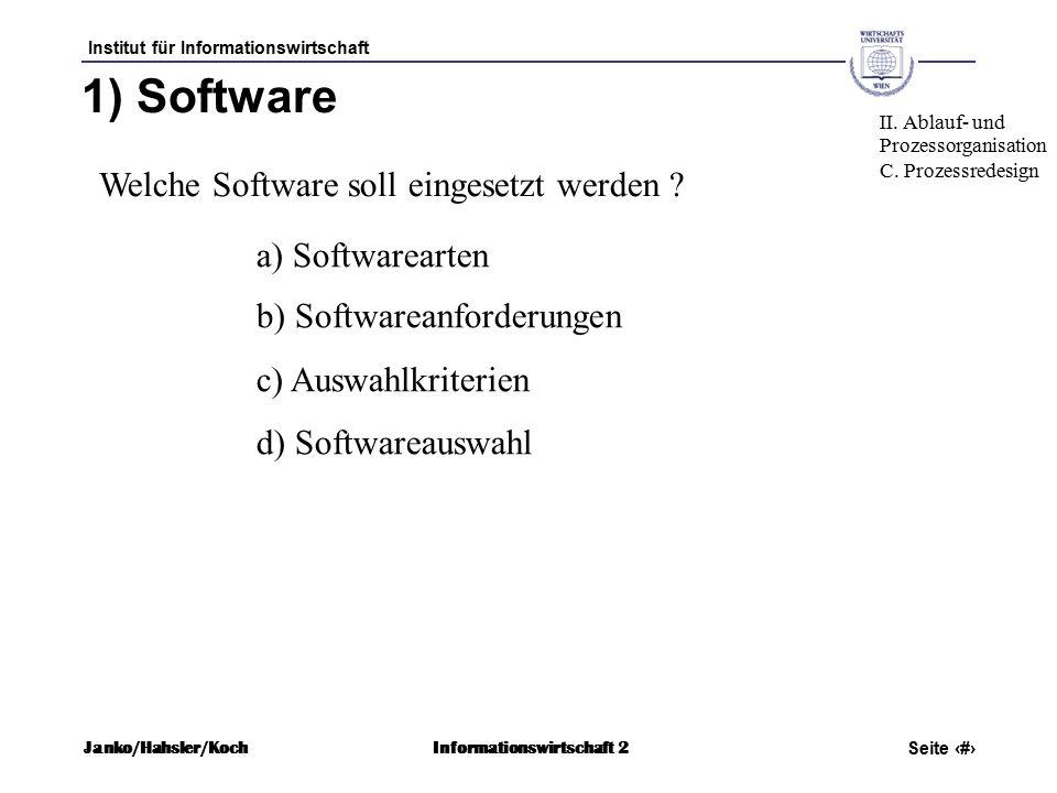 Institut für Informationswirtschaft Seite 53 Janko/Hahsler/KochInformationswirtschaft 2 1) Software Welche Software soll eingesetzt werden .