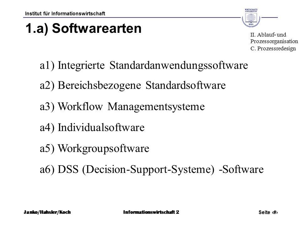 Institut für Informationswirtschaft Seite 54 Janko/Hahsler/KochInformationswirtschaft 2 1.a) Softwarearten a1) Integrierte Standardanwendungssoftware a2) Bereichsbezogene Standardsoftware a3) Workflow Managementsysteme a4) Individualsoftware a5) Workgroupsoftware a6) DSS (Decision-Support-Systeme) -Software II.