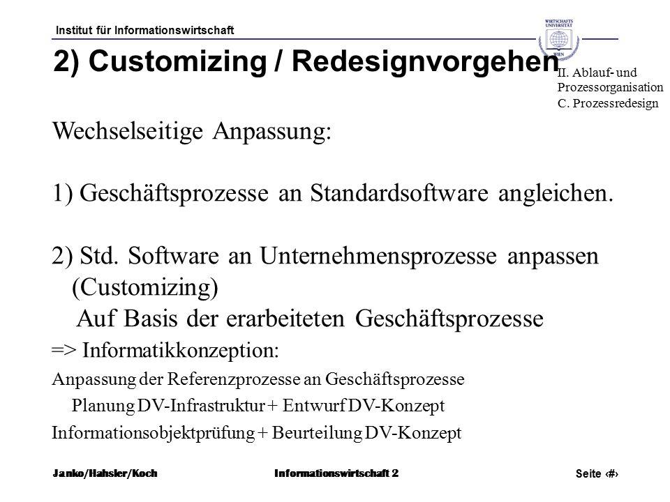 Institut für Informationswirtschaft Seite 66 Janko/Hahsler/KochInformationswirtschaft 2 2) Customizing / Redesignvorgehen Wechselseitige Anpassung: 1) Geschäftsprozesse an Standardsoftware angleichen.