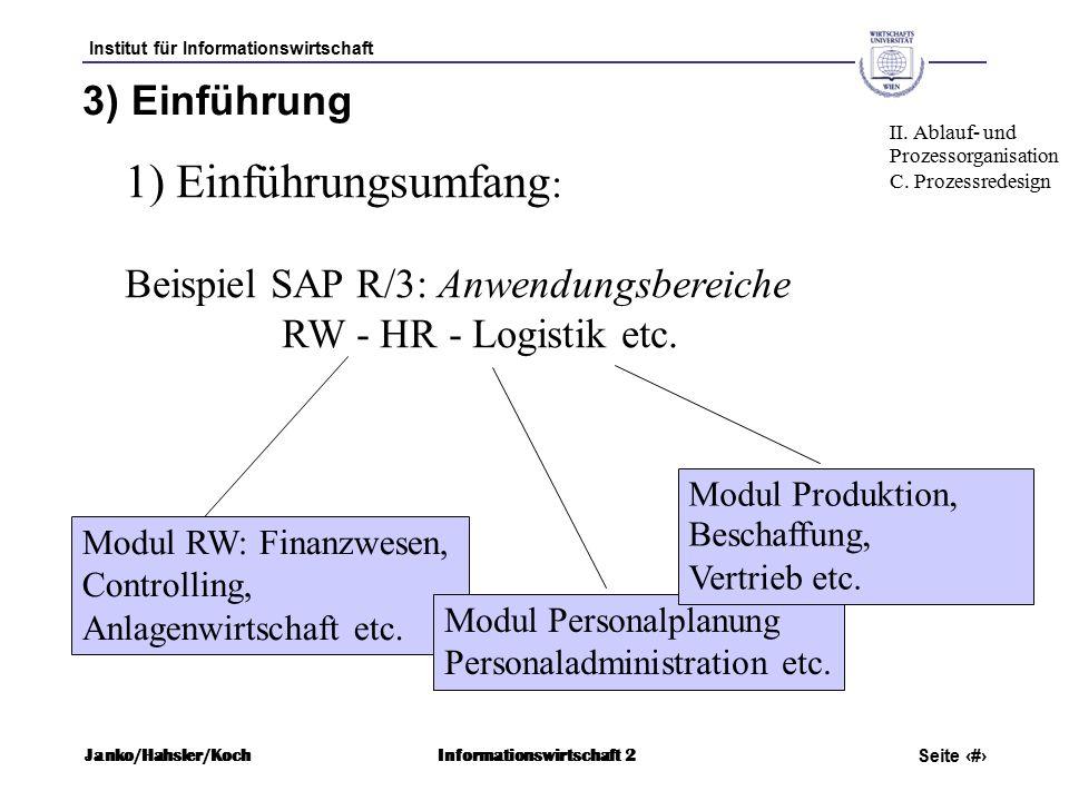 Institut für Informationswirtschaft Seite 68 Janko/Hahsler/KochInformationswirtschaft 2 3) Einführung 1) Einführungsumfang : Beispiel SAP R/3: Anwendungsbereiche RW - HR - Logistik etc.