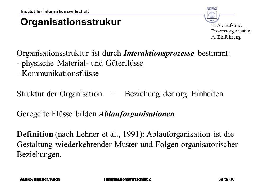 Institut für Informationswirtschaft Seite 7 Janko/Hahsler/KochInformationswirtschaft 2 Organisationsstrukur Organisationsstruktur ist durch Interaktionsprozesse bestimmt: - physische Material- und Güterflüsse - Kommunikationsflüsse Struktur der Organisation = Beziehung der org.