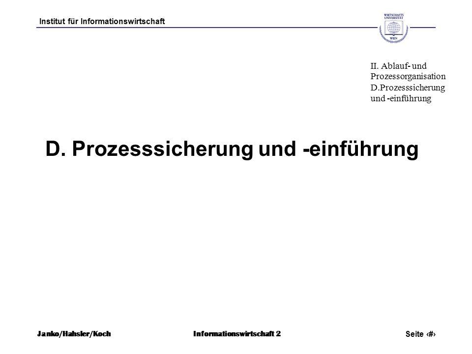Institut für Informationswirtschaft Seite 70 Janko/Hahsler/KochInformationswirtschaft 2 D.