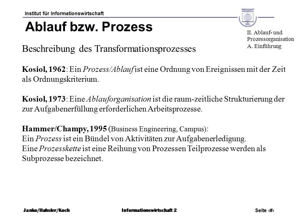 Institut für Informationswirtschaft Seite 9 Janko/Hahsler/KochInformationswirtschaft 2 Ablauf bzw.