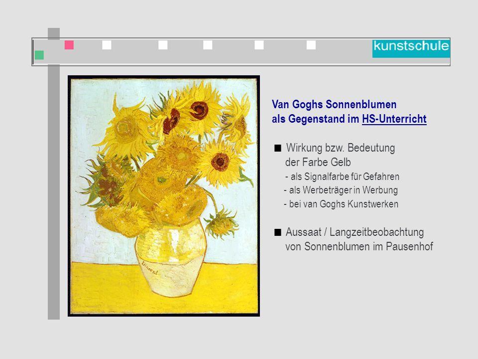 Van Goghs Sonnenblumen als Gegenstand im Kunstunterricht  Bildbetrachtung  Künstler kennen lernen  Nachgestaltung: Malen  Nachgestaltung und Veränderung des Bildes (Computer)  Umsetzung: Vergänglichkeit (Stilleben malen)  Bilder vergleichen: Sonnenblumen verschiedener Künstler Van Goghs Sonnenblumen als Gegenstand im HS-Unterricht  Wirkung bzw.