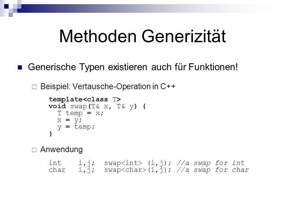 Methoden Generizität Generische Typen existieren auch für Funktionen! Beispiel: Vertausche-Operation in C++ template void swap(T& x, T& y) { T temp =