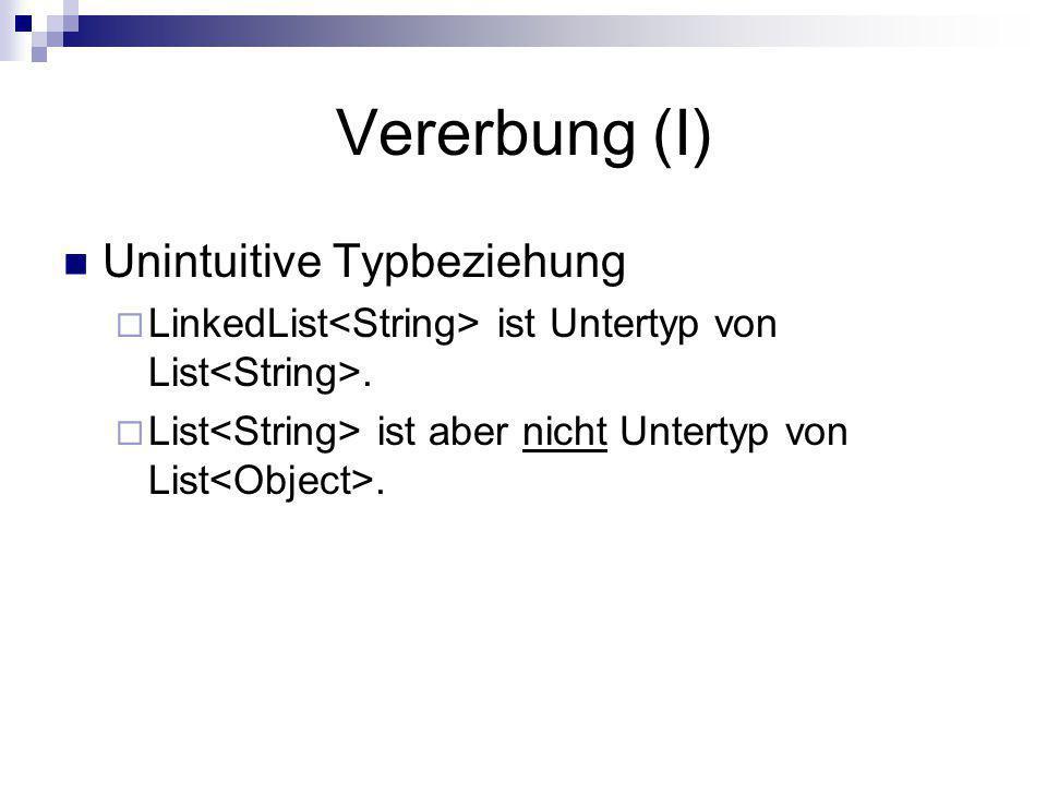 Vererbung (I) Unintuitive Typbeziehung LinkedList ist Untertyp von List. List ist aber nicht Untertyp von List.