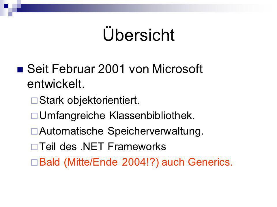 Übersicht Seit Februar 2001 von Microsoft entwickelt. Stark objektorientiert. Umfangreiche Klassenbibliothek. Automatische Speicherverwaltung. Teil de