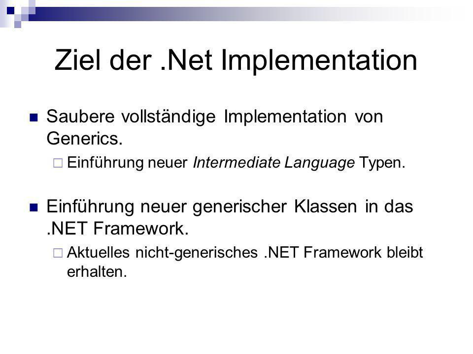 Ziel der.Net Implementation Saubere vollständige Implementation von Generics. Einführung neuer Intermediate Language Typen. Einführung neuer generisch